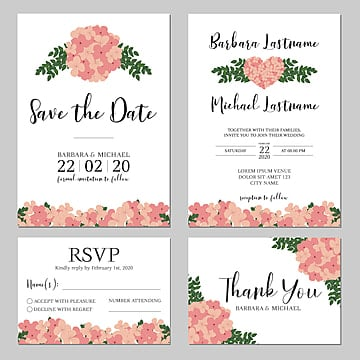 hydrangea floral wedding invitation card template wedding menu Template
