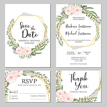 pink floral wedding invitation card template wedding menu Template