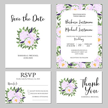 purple floral wedding invitation card template wedding menu Template
