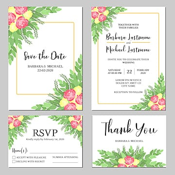 rose floral wedding invitation card template wedding menu Template