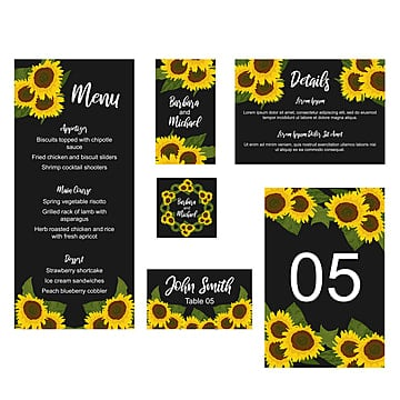 sunflower wedding stationary card template wedding menu Template