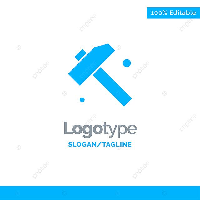 Baugewerbe Hammer Werkzeug Blau Solid Logo Template Place