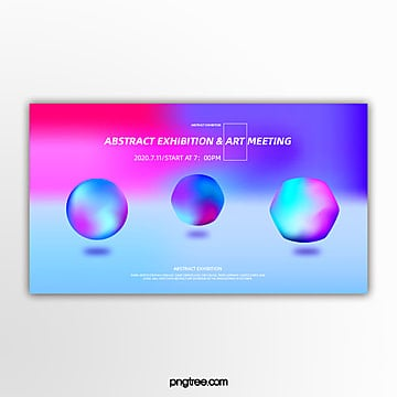 circular irregular geometric holographic multicolor gradient activity exhibition banner Template