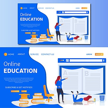education concept  online education vector landing page illustration Template