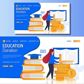 education donation vector landing page illustration Template