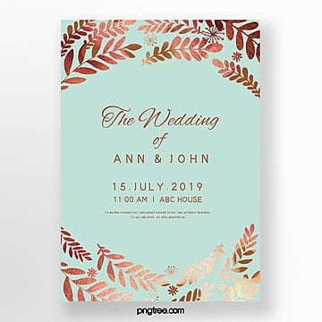 golden leaf mint blue brief wedding invitation letter Template