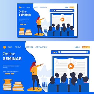 online seminar vector landing page illustration Template