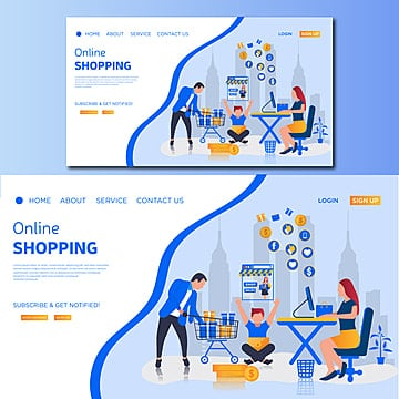 online shopping vector landing page illustration Template