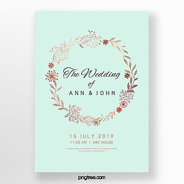simple wedding invitation letter with elegant lace mint blue wedding menu Template