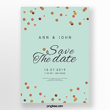 simple wedding invitation letter with golden dot mint green Template