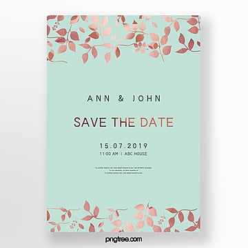 simple wedding invitation letter with golden lace and mint blue wedding menu Template