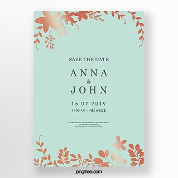 simple wedding invitation letter with golden plant lace and mint blue wedding menu Template