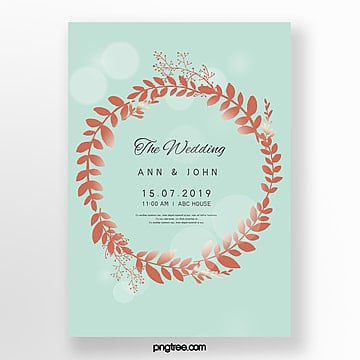 simple wedding invitation letter with golden ring and mint blue wedding menu Template