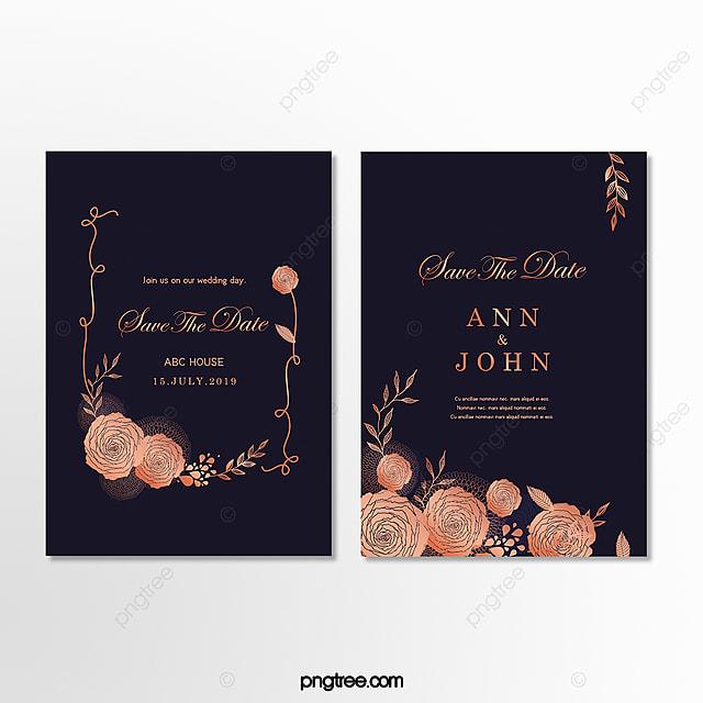 Wedding Invitations High End: High-end Gold Lace Dark Blue Wedding Invitation Letter