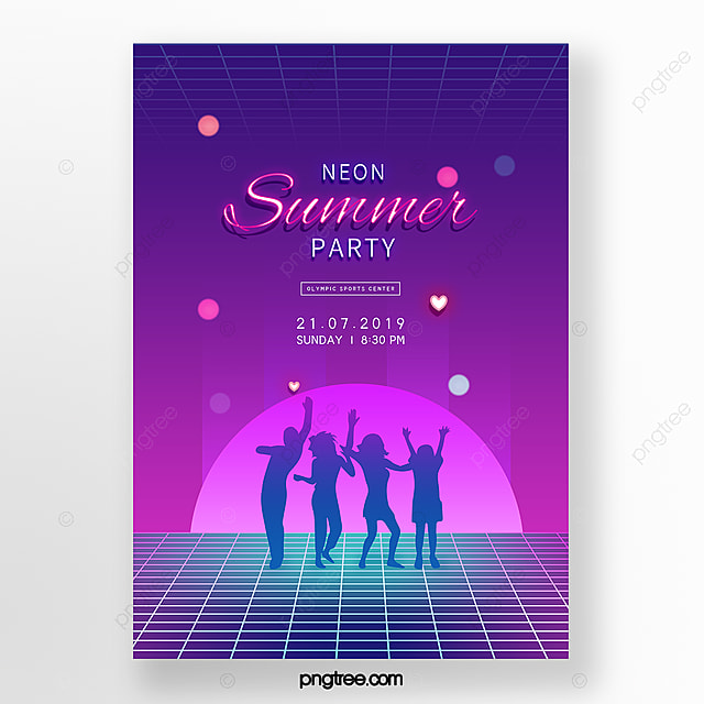 Purple Figure Silhouette Neon Party Poster Template for Free