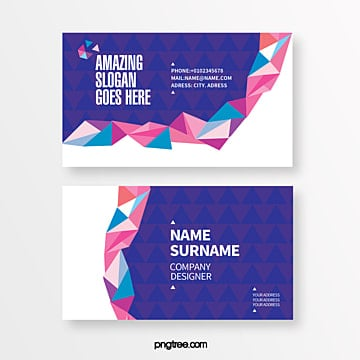 blue trend geometric triangle stitching creative business card Template