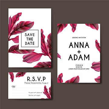 botanical pink wedding invitation card template design Template