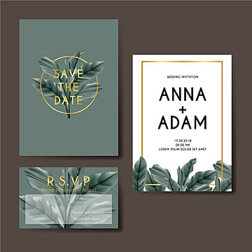 botanical wedding invitation card template design Template