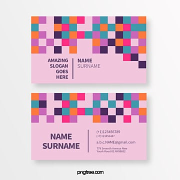creative business card of colorful square and colorful geometry trend Template