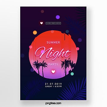dark neon effect summer party poster template Template