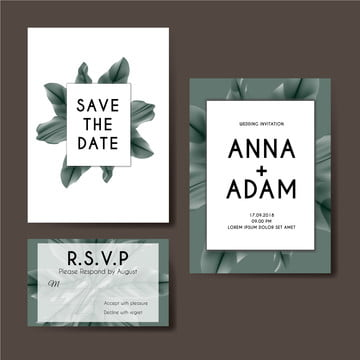 floral wedding invitation card template design Template