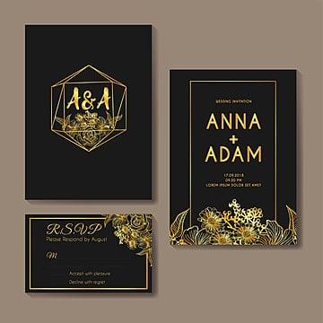 flowers gold wedding invitation card template design Template
