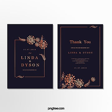 high end wedding invitation letter with golden plant border dark blue wedding menu Template
