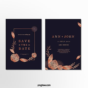 high end wedding invitations with golden lace  dark blue wedding menu Template