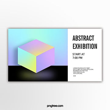 holographic color perspective geometric gradual cube abstraction exhibition flag Template