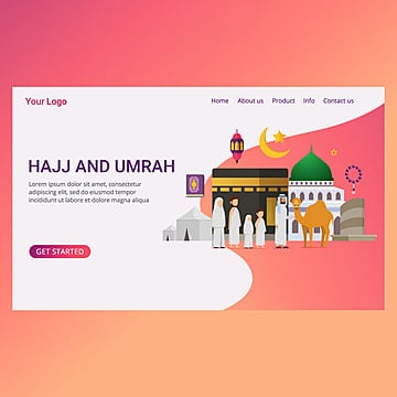 landing page eid adha mubarak with tiny people character design concept hajj and umrah season Template