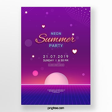 Minimalist geometry neon effect party posters Template
