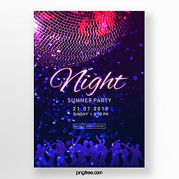 neon effect party poster template Template