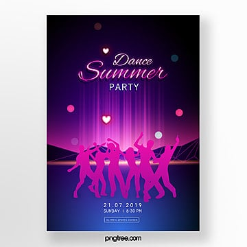neon effect summer party poster template Template