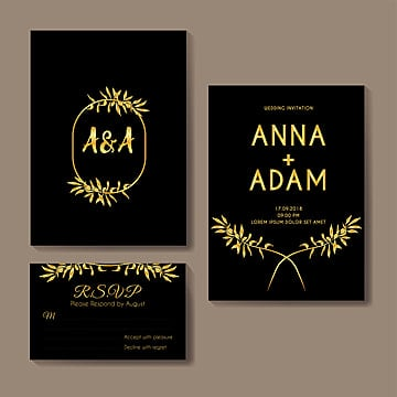 olive gold wedding invitation card template design Template
