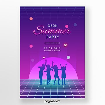 Purple figure silhouette neon party Poster Template