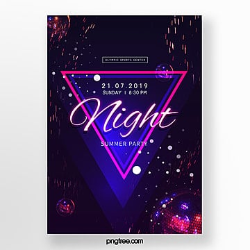 simple dark neon effect party poster template Template
