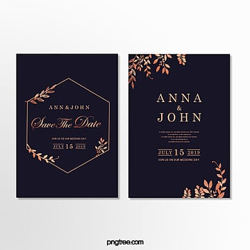 simple fashion gold lace dark blue wedding invitation letter Template
