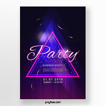 Simple Triangular Border Neon Light Effect Party Poster Template
