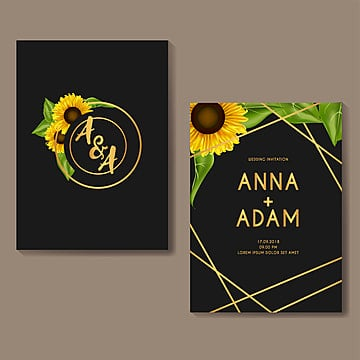 sunflower golden wedding invitation card template design wedding menu Template