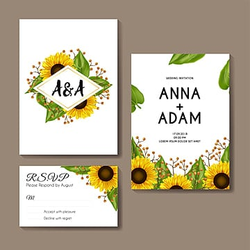 sunflowers wedding invitation card template design wedding menu Template