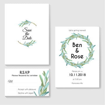 wedding invitation set with leaves small Template