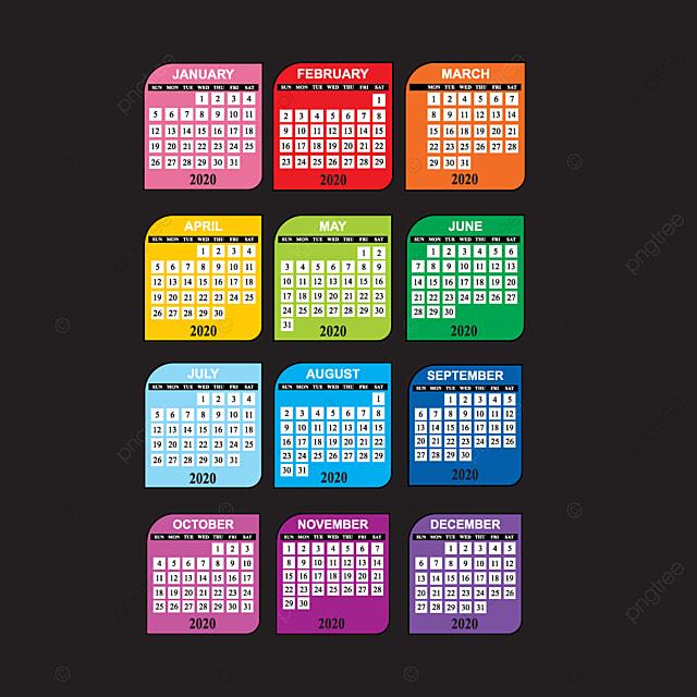 el calendario 2020 con un dise u00f1o en color parece agradable