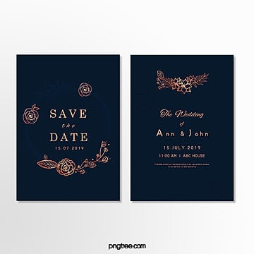 simple invitation letter for deep blue wedding Template