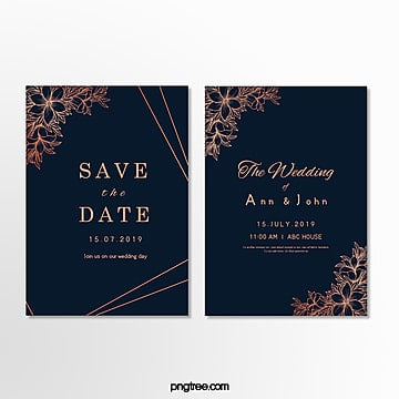 brief wedding invitation letter with dark blue layered borders Template