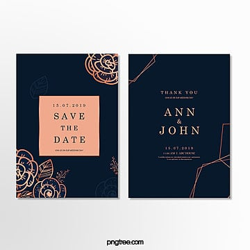 brief wedding invitation letter with dark blue and golden patterns Template