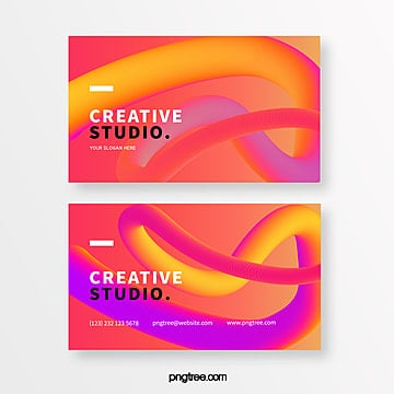 bright orange three dimensional line creative style business card Template