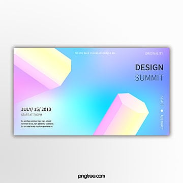 creative holographic progressive three dimensional geometry exhibition banner Template