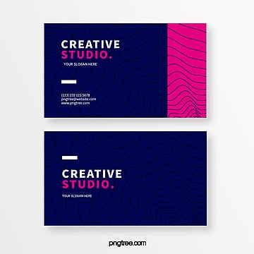 dark blue line geometric creative style business card Template