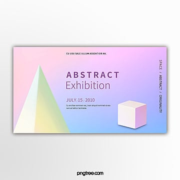 fashion holographic gradual stereo geometry exhibition banner Template