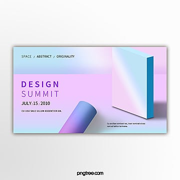 holographic gradual stereogeometry exhibition banner Template